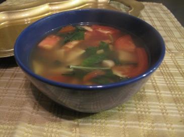 Basil Ravioli Soup
